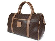 CELINE MACADAM PVC Canvas, Leather Brown Mini Boston Bag CB8243L