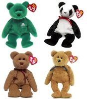 """VERY RARE-Lot (4) Ty Beanie Babies """"Curly,""""""""Erin,"""" """"Fortune"""" & """"Fuzz.""""- ERRORS"""