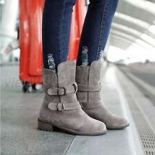 Womens Ankle Boot Vintage Buckle Suede Winter Pull on Warm Ridding Shoes Plus Sz