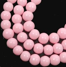 50 Czech Glass Round / Rocaille Beads - Opaque Baby Pink 6mm