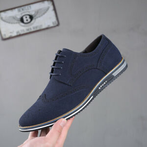 British Style Casual Men's Brogue Carved Frosted Artificial Pu Leather Shoes New