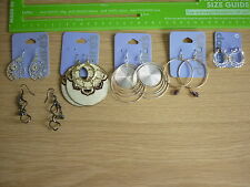 6 Pairs Earrings Earings Claire's Hoops Big Dangly Creole Gold Silver New Bundle