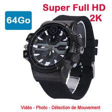 montre mini caméra espion 64 Go 2K Super Full HD 2304 x 1296p Détection de Mvt