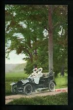 "Car Auto Vintage postcard Valentine's Series women driving ""A Quiet Spin"""