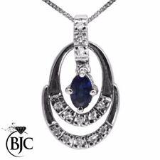 Oval Sapphire White Gold Fine Necklaces & Pendants
