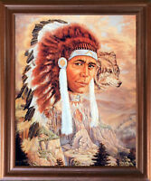 Native American Indian Chief and Wolf Wall Decor Mahogany Framed Picture (18x22)