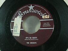 "The Crickets 45 ""It's So Easy"" & Lonesome Tears 1958 Brunswick 55094 Buddy Holly"