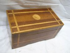 Vintage Marquetry Wooden Dresser Top Trinket Box Ornate Inlay Wood Mirror