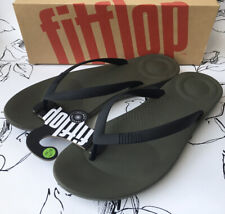 FitFlop IQUSHION ERGONOMIC Mens Rubber Flip Flops Camouflage Green UK 11 NEW