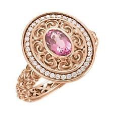 14k Rose Gold Pink Tourmaline and Diamond Sculptural Ring
