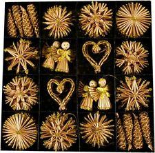62 x Strohsterne  Ø 6 cm Stroh-Ornamente  Glitzerapplikationen  Sterne Stroh