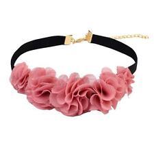 Women's Boho Black Velvet Cord Pink Flower Choker Statement Bid Necklace