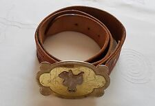 VINTAGE COLORADO DENVER SADDLERY HAND CARVED BROWN LEATHER WOMEN'S BELT