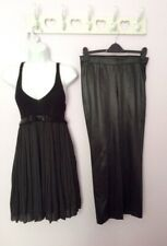 BRAND NEW MARCCAIN BLACK PLEATED & KNIT TOP & SATIN CROP TROUSER SUIT SIZE 10