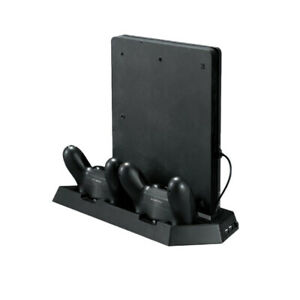 Vertical Cooling Fan Stand with Dual Charging Station for PS4 Slim Console 230mA