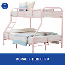 Metal Bunk Beds Twin over Full  Ladder Kid Teen Dorm Loft Bedroom Furniture Pink