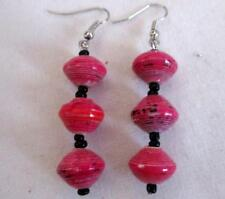 """2 1/2"""" 3 Bead Dangle Earrings Rose Mix Recycled Paper Bead Silver Wires"""