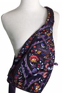 Vera Bradley Mini Sling Backpack Lighten Up Foxwood Meadow Purple Floral Pockets