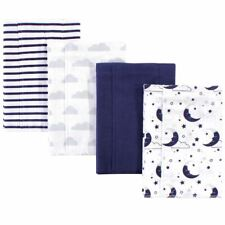 Hudson Baby Boy and Girl Layered Flannel Burp Cloth, Moon, One Size