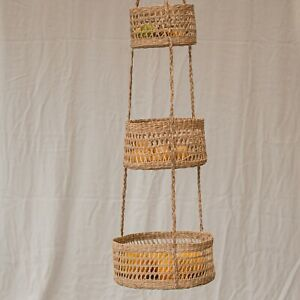 3 Tiers Round Hanging Fruit Seagrass Basket