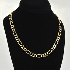 "Elegant 14K Two-tone Solid Fine Gold Hand Polished Flat Figaro Necklace 22"" Long"