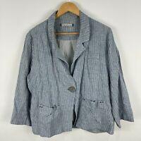 The Ark Womens Jacket Large Grey Striped Long Sleeve Collared Button Closure