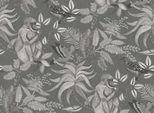 Wallpaper Designer Cole & Sons Savuti Charcoal Gray Monkey Rainforest