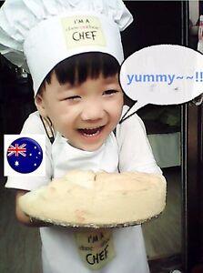 Kids Children Little Chef Bakery Kitchen White Hat Apron Set OR hat only Cap