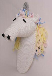 "Pottery Barn Kids *sample* Unicorn head 14"" wall mount decor, mounted, white"