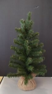 """18 """" GREEN PINE XMAS TREE W/BURLAP COVERED BASE~YOU DECORATE ~NICE & FULL"""