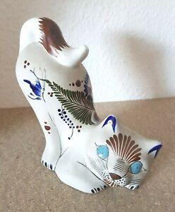 Große Vintage Keramik Pottery Katze Cat, Reyna Mexico Tonola signiert (G988)xx