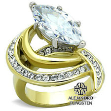 Women's Ring Wedding 4Ct Marquise Cut CZ Stainless Steel Gold Ring Size 7
