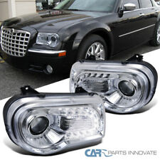 For 05-10 Chrysler 300C Clear LED Bar Projector Headlights Head Lamps Left+Right