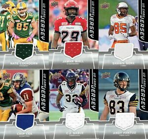 2016 Upper Deck CFL Game Used Jersey Insert cards ***YOU PICK***