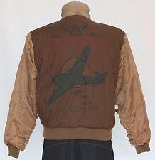 Men's Leather Bomber Jacket Size Large L 42 Brown U-2 WEAR ME OUT