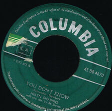 """45T 7"""": Helen Shapiro: you don't know. columbia. A4"""