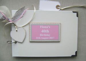 PERSONALISED 40TH BIRTHDAY. PINK ..A5 SIZE.. PHOTO ALBUM/SCRAPBOOK/MEMORY BOOK.