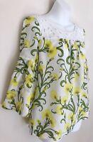 Anthropologie HD IN PARIS Women Blouse Top Sz 8 Yellow Floral Trumpet 3/4 Sleeve