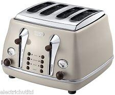NEW Delonghi Vintage Icona Dolcevita CTOV4003.BG 4-Slice Toaster Cream Beige
