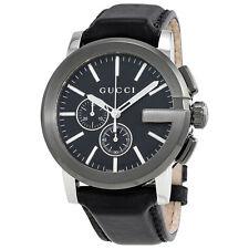 Gucci G-Chrono Black Dial Leather Mens Watch YA101205