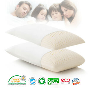 Zoned Active 100% Pure Natural Latex Pillow with Organic Cotton Fabric