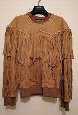 Just Cavalli S02GP0043 Studded Sweatshirt Fringed Top Tan Size Ita 38