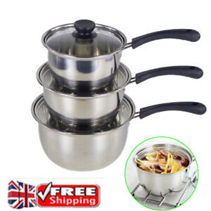Set of 3 Stainless Steel Saucepans Kitchen Cookware Cooking Pots Pan & Lids New