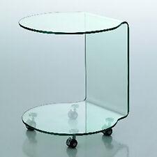 Tavolino in vetro curvato Move con ruote per soggiorno pranzo ufficio o studio