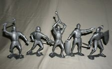 "Lot Of 5 1964 Marx 6"" Silver Knights Original Vintage Marx Plastic Toy Figures"