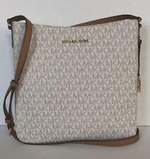 New Michael Kors Jet Set Travel Large Messenger Shoulder Bag PVC Vanilla / Acorn