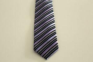 New Men's Tie Binder Tie Silk 150 CM Purple Black Stripes Boxed