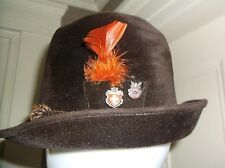 Vintage Mens Abercrombie & Fitch A&F Feather Fedora Cap Hat Austria Travel Pins