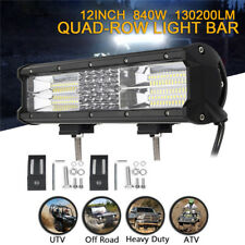 "12"" Inch LED Quad-row Work Light Bar Flood Spot Combo Car Truck SUV 4WD Off Road"