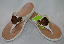 Crocs Women's Sanrah Embellished Wedge Flip Oyster/Gold Sandals-Sz 7/8/9/10 NWB